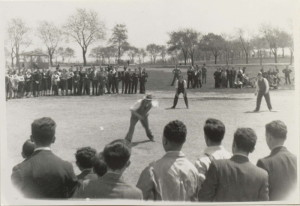 Teachers and students playing baseball in Fletcher's Field, ca. 1939, Taken by Sam Levy (BBHS '39)