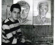 Joseph Newman in front of his artwork, 1948, Clay Sperling, photographer, for the Montreal Standard, Credit: Concordia University Archives