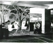 Mural in the Basement signed P. Levine, 1948, Clay Sperling, photographer, for the Montreal Standard, Credit: Concordia University Archives