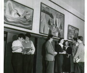 Murals Representing Canadian Outdoor Life, 1948, Clay Sperling, photographer, for the Montreal Standard . Credit: Concordia University Archives