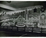 Mural in the Basement, 1948, Clay Sperling, photographer, for the Montreal Standard, Credit: Concordia University Archives