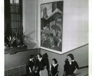 Mural in stair hall, 1948, Clay Sperling, photographer, for the Montreal Standard, Credit: Concordia University Archives