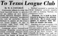 George Wegerek joining the Buffulo Bisons, Buffulo Courier Express,  January 1957
