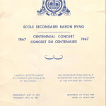 Music Programme, Centennial Concert, 4 page bi-fold pamphlet,  May 17&18, 1967 Courtesy of Sally Perlman (class of 52)