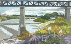 Alfred Pinsky, Bridge in Saskatoon, Oil on masonite, 1958, Collection of the Leonard & Bina Ellen Art Gallery, Concordia University, Gift of Kate and Don Pooley, 1966, Photo: Paul Smith