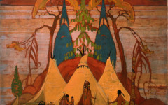 Anne Savage, Indian Camp, ca. 1930, Oil on beaverboard, Collection of the Leonard & Bina Ellen Art Gallery, Concordia University, Gift of the Collection of the PSBGM Cultural Heritage Foundation, 2002, Photo : Denis Farley
