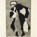 Woman with Bags, Drypoint with plate toning, 3/75, 1958, 43.5 x 27.6 cm (sheet), 30.3 x 19.6 cm (platemark), Gift of Lilian and Melanie Reinblatt Coll. The Montreal Museum of Fine Arts Photo Jean François Brière, MMFA