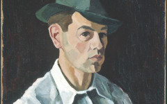 Moe Reinblatt, Self portrait in a Green Fedora, Oil on canvas.1940, Purchase, Horsley and Annie Townsend Bequest Coll. The Montreal Museum of Fine Arts Photo Christine Guest, MMFA