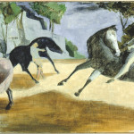 Horsemen on Mont Royal, Oil on canvas,, 1950s, 53.5 x 102 cm, Gift of Lilian and Melanie Reinblatt, Coll. The Montreal Museum of Fine Arts Photo Christine Guest, MMFA