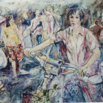 Asian Street, watercolour on paper, courtesy of the artist