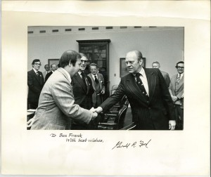 Ben Frank shaking hands with President Ford