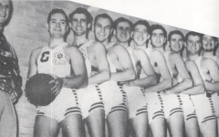 Coach Joey Richman and the  Canadian Basketball Team at the 1950  Maccabiah Games. Note Mendy Morien, another BBHS student first in the line of players.